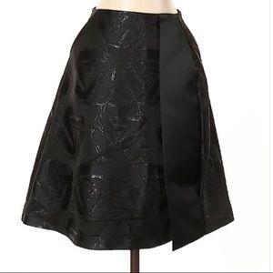 Jil Sander Black Metallic Pleated A Line Skirt